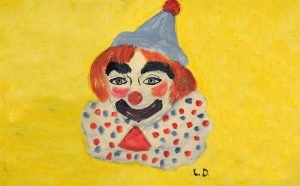 a child's delightful oil painting of a clown with a blue hat and a red ball on top.