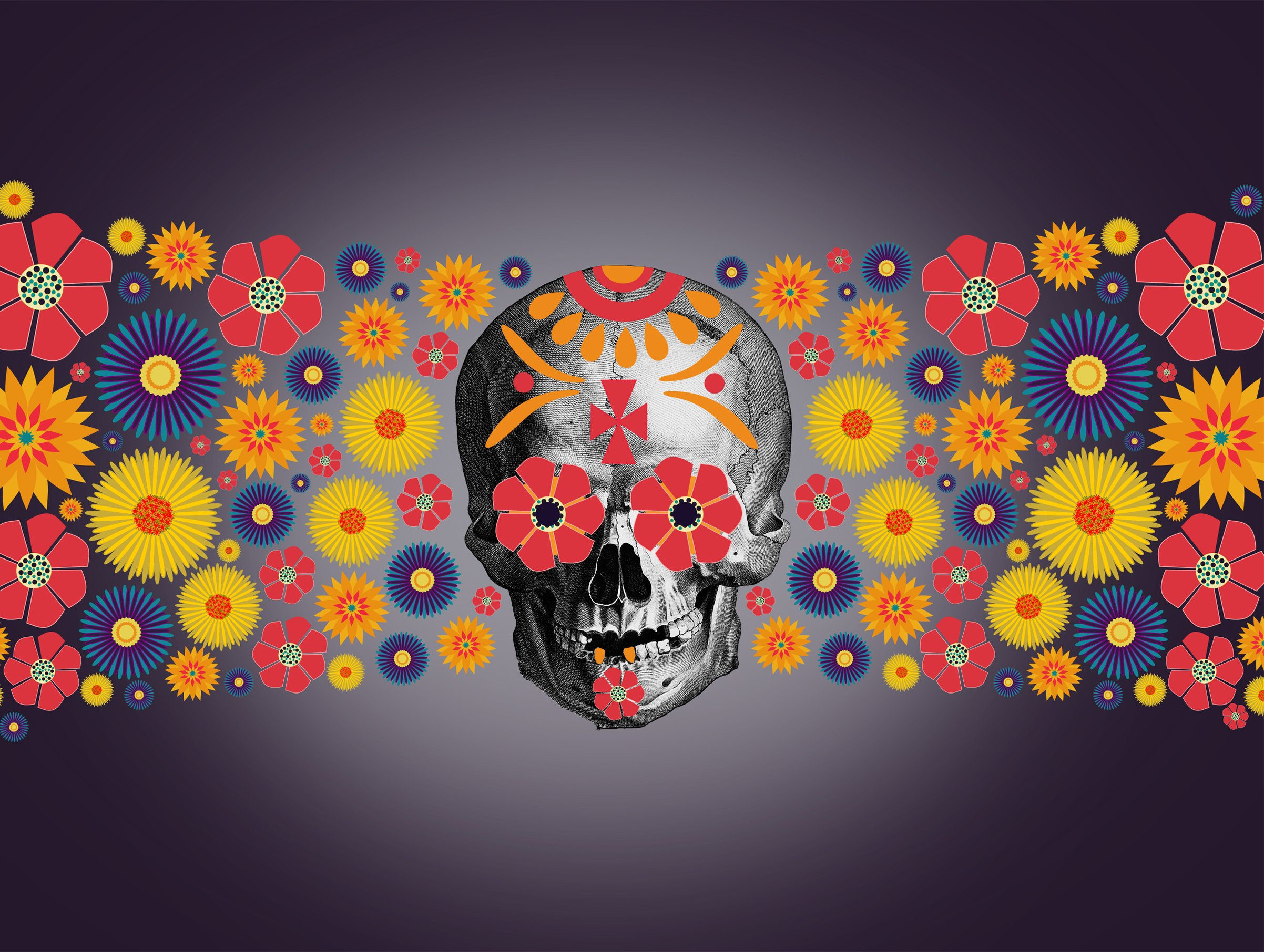 flowers and skull for Dia de los Muertos